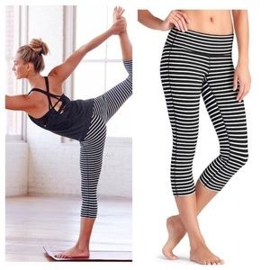 Athleta Chaturanga Black& White Striped Crops